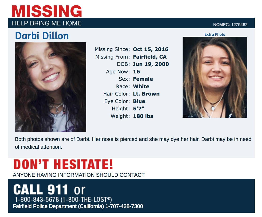 Missing Darbi Dillon Fairfield CA